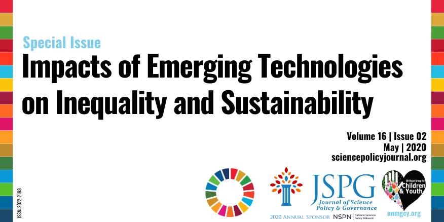 Horizontal image of cover page for JSPG-UN MGCY Special Issue on the Impacts of Emerging Technologies on Inequality and Sustainability