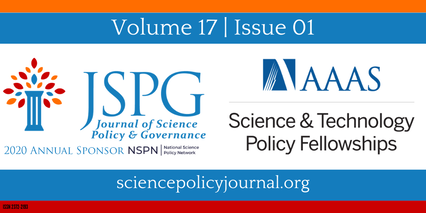Cover Page of Volume 17 Issue 01 featuring the logos of JSPG, AAAS STPF, & NSPN. Text reads Volume 17, Issue 01, Sciencepolicyjournal.org