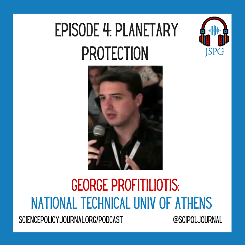 Image of cover art for episode 4 of the @SciPolJournal #SciPolSoundBites podcast featuring a headshot of George Profitiliotis